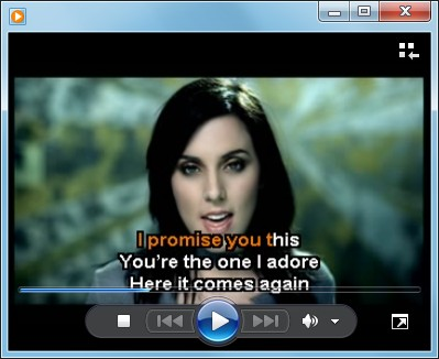 The track's original colour background is replaced with a photo to create a high quality video, shown here in Windows Media Player.